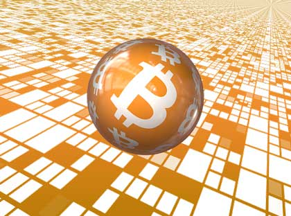 Bitcoin Währung mit Perspektive